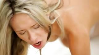Slut in stockings is sucking heavy penis