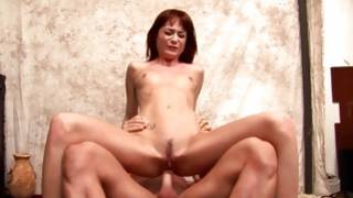 Check out babe's lovely sexy face while she is jumping on man's cock
