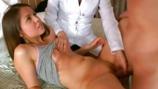 Horny man is on bed with non-standard lassie and gyno doctor getting obscene