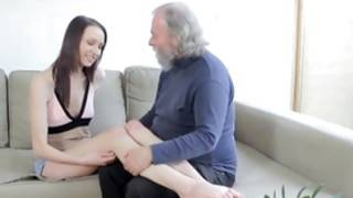 Loving and randy old gent is tenderly giving a French babe's thrilling mammary glands