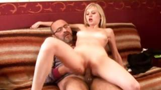 Perfect hoe is getting her unflexible cookie stuffed with big dick