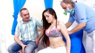 One dark-haired sweetie is getting abused by the particular two aroused dudes coarse