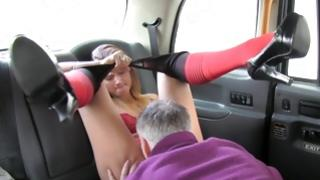 Grey haired mister sucks on her pink flaps