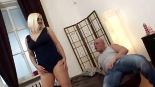 Cruel man is wildly rubbing her cute bosoms