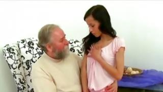 Senior man is screwing a cockpit of a abdl sexy belle with a valuable body