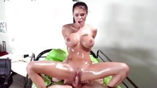 Buxom salacious girl is smashed intense core