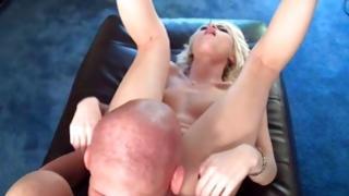 Fair-haired exasperating bitch masturbating her snatch
