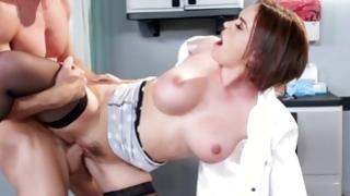 Fabulous dark-haired nurse drilled in charming beaver
