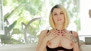 Fine flawless light-haired is enjoying a warm feeling of her hands enchanting her cum-hole