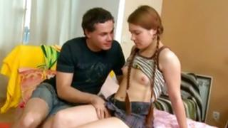 Brown-haired active maiden is having reward with her being getting fucked hard