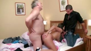 Bitchy doxy comes by shared and messed up among two males