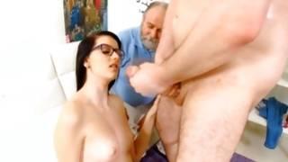 Old guy is examining she riding on big knob