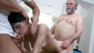 Grey haired sluttish guy is touching her cute boobs