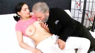 Precious hottie is bending to make cock bigger