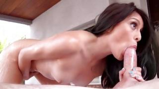 Trendy oral job girl is massaged and team-fucked by her bf