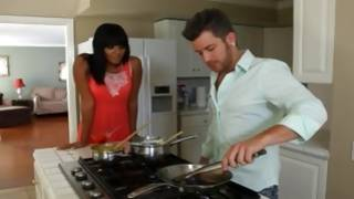 Delicate young gf is watching dude is cooking