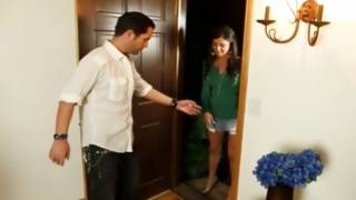 Watch kinky fellow welcomes cutie in his house