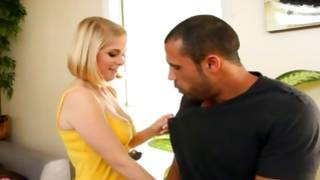 Naughty tittied young blondie is observed by a dude