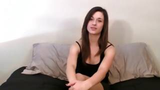 Perfectly hot young brunette gal looks sexy