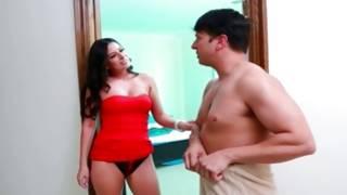 Terrible fellow is examining her naughty flesh