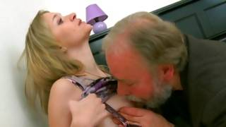 Buxom old tutor licking the chuff box of his young student