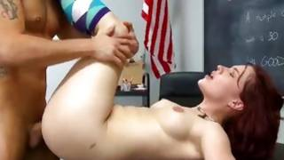 Red haired kinky slut is riding on the heavy hard knob